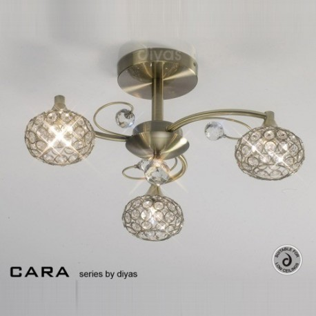 Il30943 Cara 3 Light Crystal And Antique Brass Ceiling Light