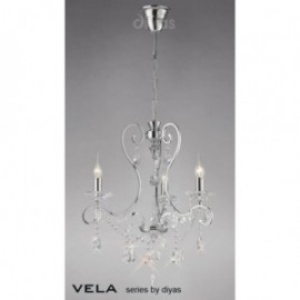 Inspired Diyas Vela crystal and chrome 3 light chandelier IL31363