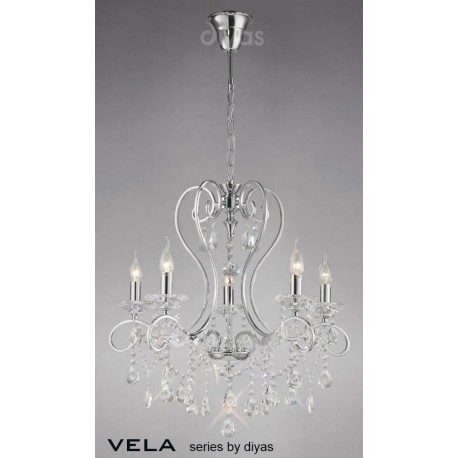 Inspired Diyas Vela crystal and chrome 5 light chandelier IL31365