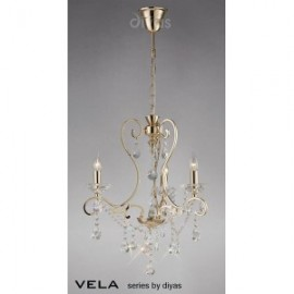 Inspired Diyas Vela crystal and French gold 3 light chandelier IL32063