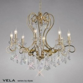Inspired Diyas Vela crystal and French gold 8 light chandelier IL32068
