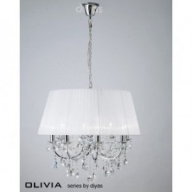 Inspired Diyas olivia 8 light chrome with white gauze shade chandelier IL30056/WH
