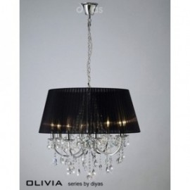 Inspired Diyas olivia 8 light chrome with black gauze shade chandelier IL30056/BL