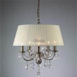 Inspired Diyas olivia 8 light antique brass with ivory cream gauze shade chandelier IL30057/CR