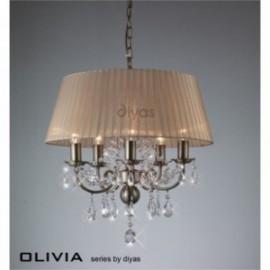 Inspired Diyas olivia 5 light antique brass with soft bronze gauze shade chandelier IL30047