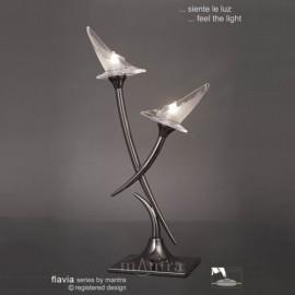 Flavia 2 light table lamp black chrome