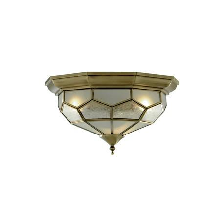 Searchlight 2 light flush fitting antique brass