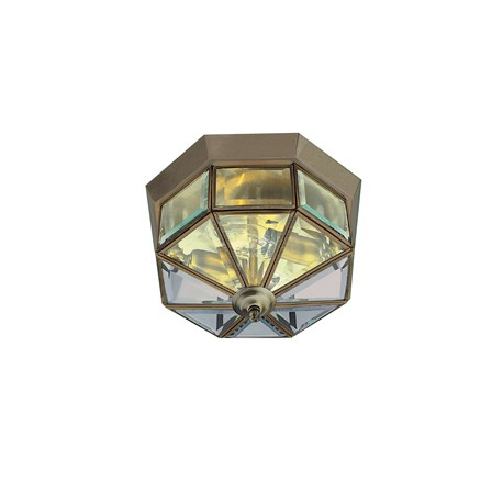 Searchlight 2 light bevelled glass in antique brass