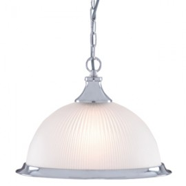 Searchlight 1 light American diner pendant satin silver