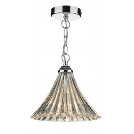 Dar Ardeche 1 light fluted pendant polished chrome