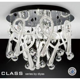 Diyas Class 10 light white crystal ceiling light