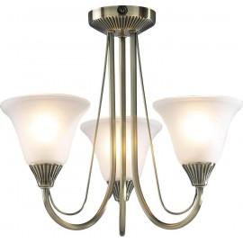 Dar Boston 3 light semi flush antique brass opal glass shades