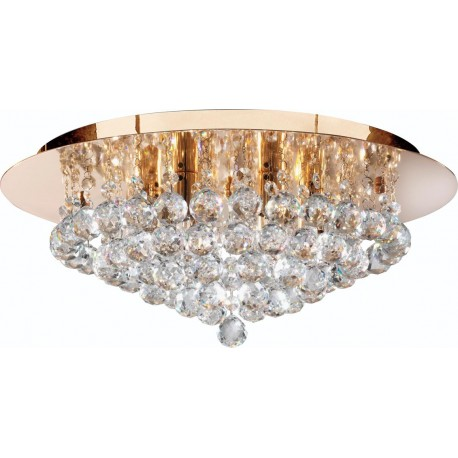 Searchlight 6 light Hanna Flush fitting in gold with crystal ball decoration