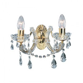 Searchlight 699-2 Marie Therese 2 light wall light Polished brass