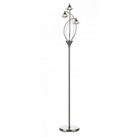 Dar luther 3 light floor lamp satin chrome aloadofball Choice Image