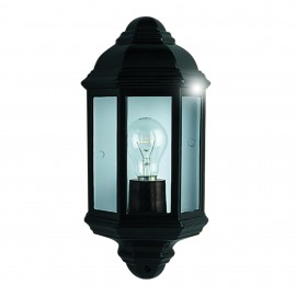 Black traditional exterior wall lantern searchlight