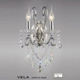 Inspired Diyas Vela crystal and chrome double wall light IL31362