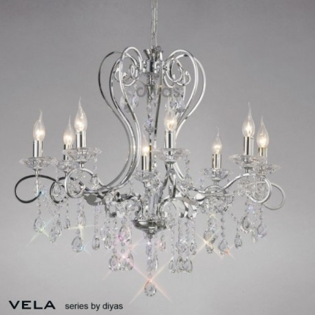 Inspired Diyas Vela crystal and chrome 8 light chandelier IL31368