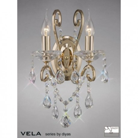 Inspired Diyas Vela crystal and French gold double wall light IL32062