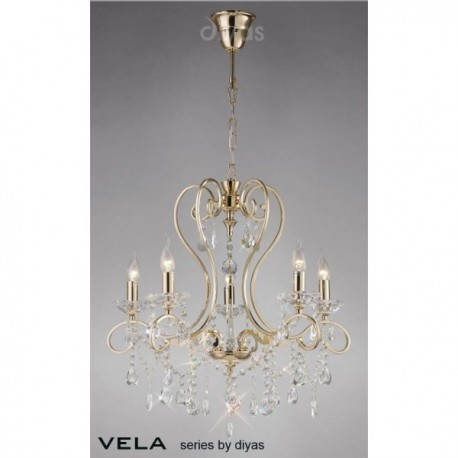 Inspired Diyas Vela crystal and French gold 5 light chandelier IL32065