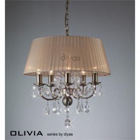 Inspired Diyas olivia 8 light antique brass with soft bronze gauze shade chandelier IL30057/SB