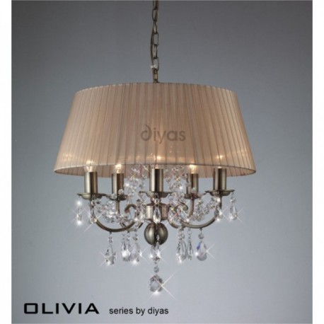 Inspired Diyas olivia 5 light antique brass with soft bronze gauze shade chandelier IL30047