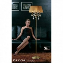 Inspired Diyas olivia 3 light antique brass with soft bronze gauze shade floor lampᅠIL30066/SB