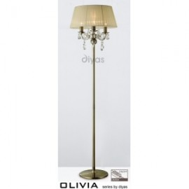 Inspired Diyas olivia 3 light antique brass with ivory cream gauze shade IL3006/CR