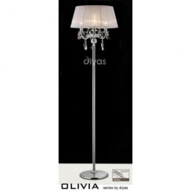 Inspired Diyas olivia3 light chrome with white gauze shade floor lamp