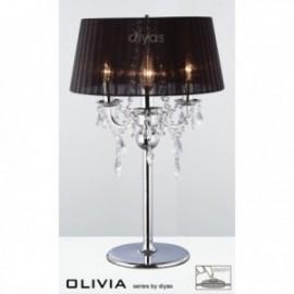 Inspired Diyas olivia 3 light chrome with black gauze shade table lamp IL30062/BL