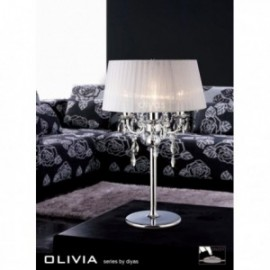 Inspired Diyas olivia 3 light chrome with white gauze shade table lamp IL30062/WH