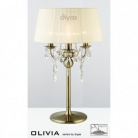 Inspired Diyas olivia 3 light antique brass with ivory cream gauze shade table lamp IL30065/CR