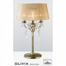 Inspired Diyas olivia 3 light antique brass with soft bronze gauze shade table lamp IL30065/SB