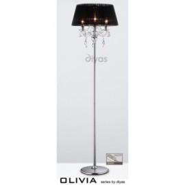 Inspired Diyas olivia3 light chrome with black gauze shade floor lap IL30063/BL