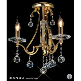 Diyas Bianco 3 light semi flush ceiling light