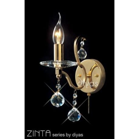 Diyas Zinta 1 light wall bracket gold plated
