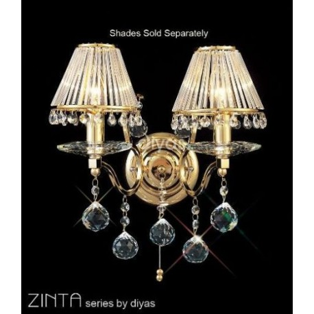 Diyas Zinta 2 light wall bracket gold plated