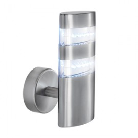Searchlight LED satin silver outdoor wall light IP44
