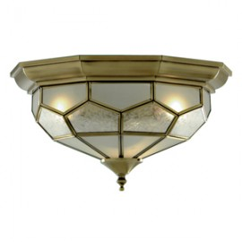 Searchlight 2 light flush fitting antique brass