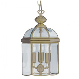 Searchlight 3 light antique brass lantern