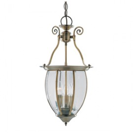 Searchlight hanging lantern 3 light in antique brass