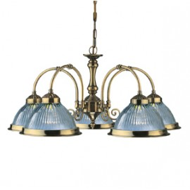 Searchlight 5 light American diner ceiling light antique brass