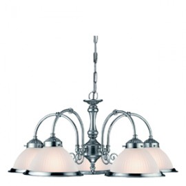 Searchlight 5 light American diner ceiling light satin silver