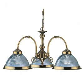 Searchlight 3 light American diner ceiling light antique brass