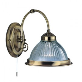 Searchlight 1 light American diner wall light antique brass