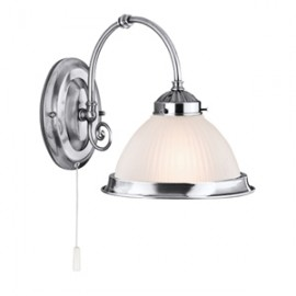 Searchlight 1 light American diner wall light satin silver