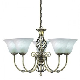 Searchlight 5 light Cameroon antique brass fitting