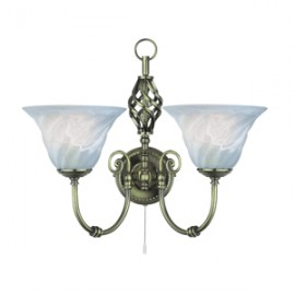 Searchlight 2 light Cameroon antique brass wall light