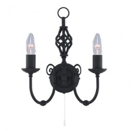 Searchlight 2 light Zanzibar black wrought iron wall light
