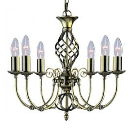 Searchlight 6 light Zanzibar antique brass fitting